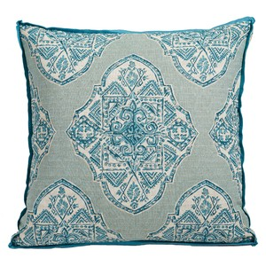 Blue Ornate Gusset Throw Pillow