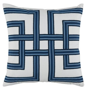 Navy White Basket Weave Print Pillow