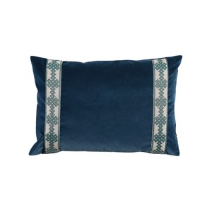 Navy Denim Velvet Lumbar Pillow   Lacefield Designs