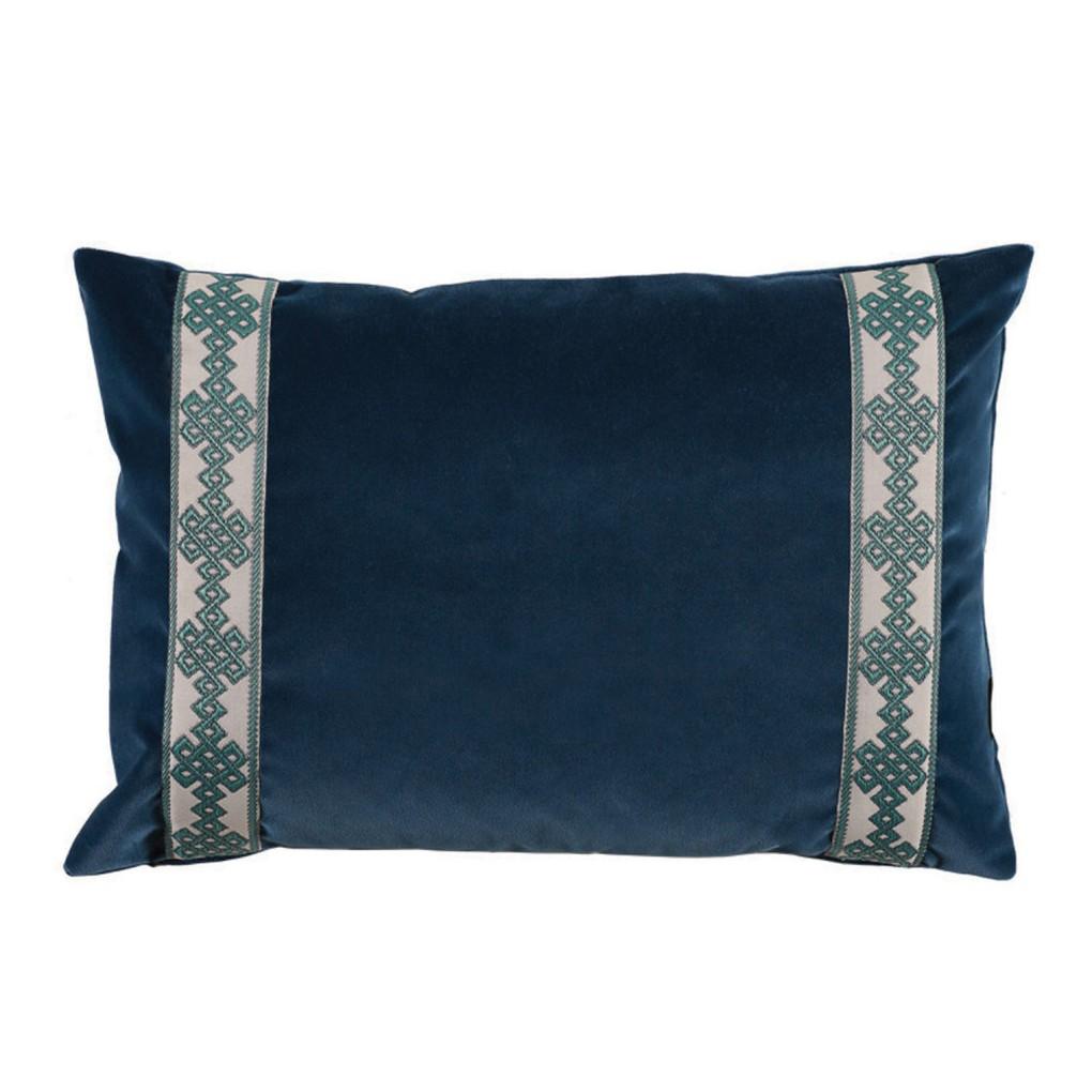 Navy Denim Velvet Lumbar Pillow | Lacefield Designs