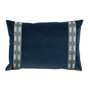 Navy Denim Velvet Lumbar Pillow
