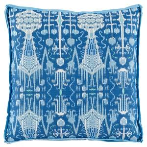 Cobalt Ikat Printed Throw Pillow