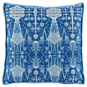 Cobalt Ikat Printed Throw Pillow | Lacefield Designs