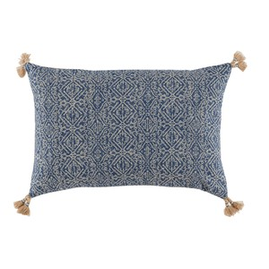 Tassel Corner Indian Blue Printed Lumbar Pillow