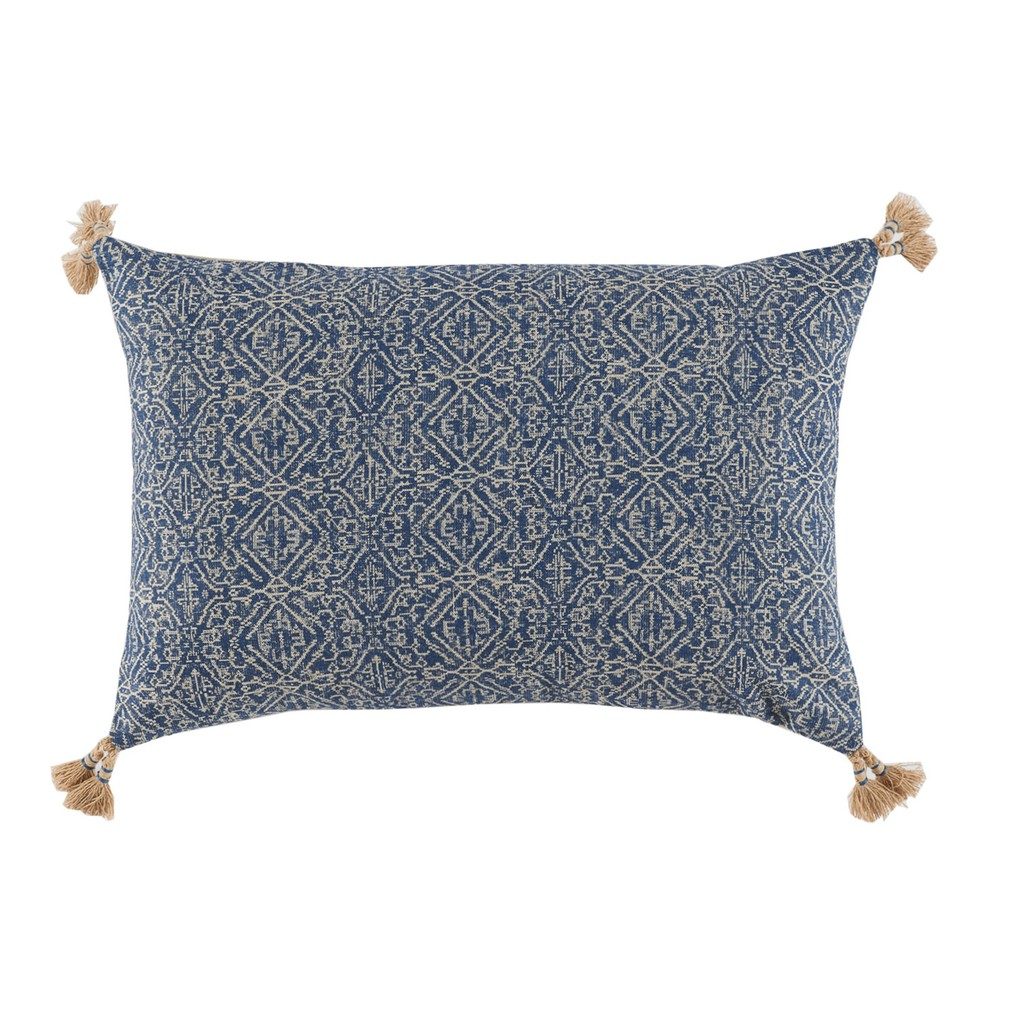 Tassel Corner Indian Blue Printed Lumbar Pillow | Lacefield Designs