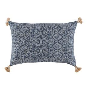 Tassel Corner Indian Blue Printed Lumbar Pillow