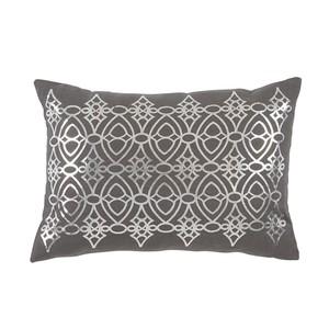 Silver Foil Printed Grey Lumbar Pillow