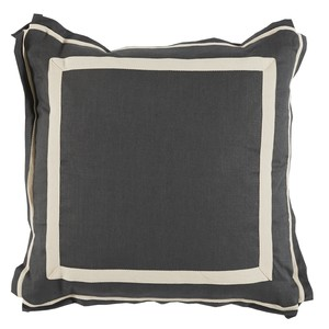Grey White Border Linen Pillow