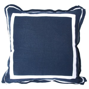 Navy Linen White Double Border Pillow