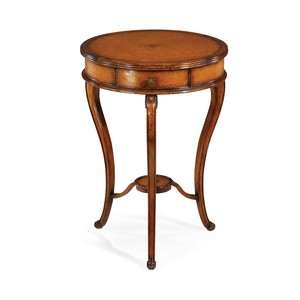 Leather Inset Round Lamp Table