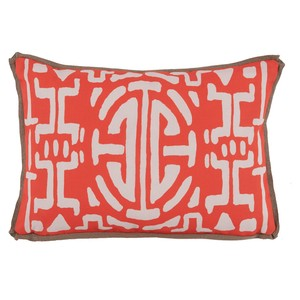 Melon Geometric Print Outdoor Lumbar Pillow