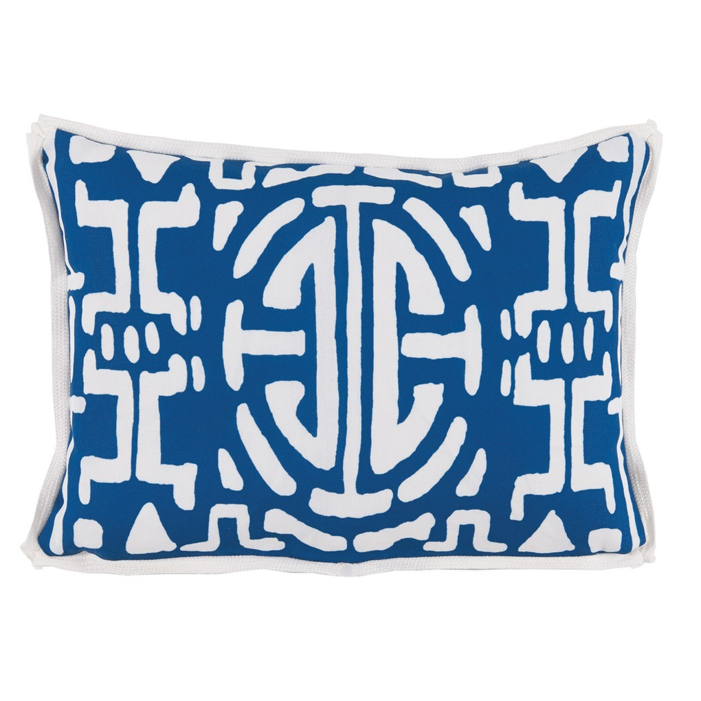 Navy Geometric Print Outdoor Lumbar Pillow | Lacefield Designs