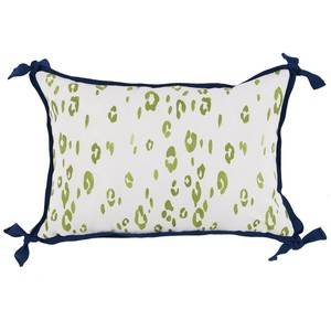 Leopard Lime Green White Outdoor Lumbar Pillow | Lacefield Designs