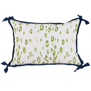 Leopard Lime Green White Outdoor Lumbar Pillow