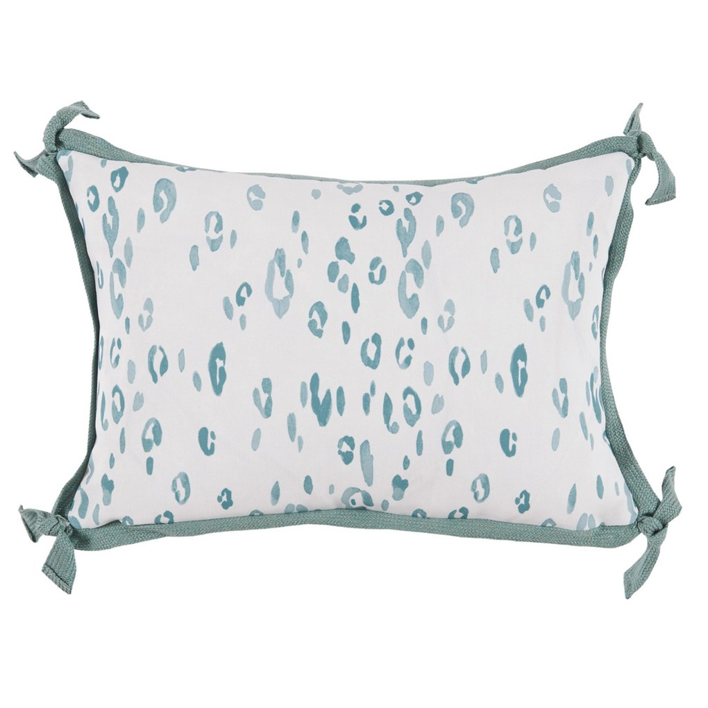 Leopard Seafoam White Outdoor Lumbar Pillow | Lacefield Designs