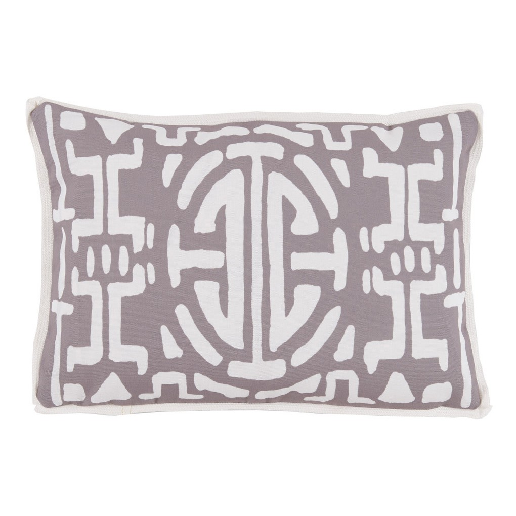 Taupe Geometric Print Outdoor Lumbar Pillow | Lacefield Designs