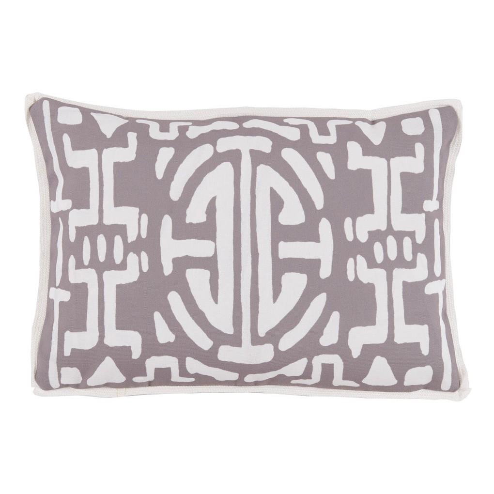 TaupeGeometric Print Outdoor Lumbar Pillow | Lacefield Designs