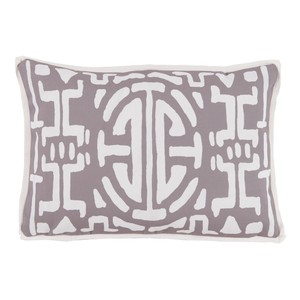 Taupe Geometric Print Outdoor Lumbar Pillow