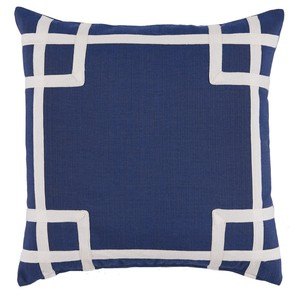 Navy White Corner Tape Print Outdoor Pillow