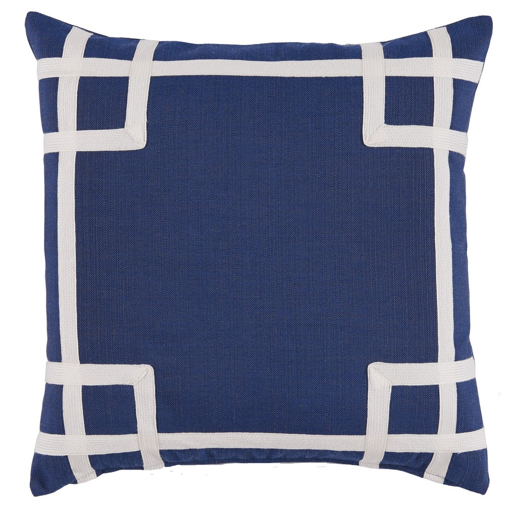 Navy White Corner Tape Print Outdoor Pillow | Lacefield Designs