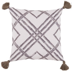 Taupe Bamboo Thread Print Outdoor Pillow | Lacefield Designs