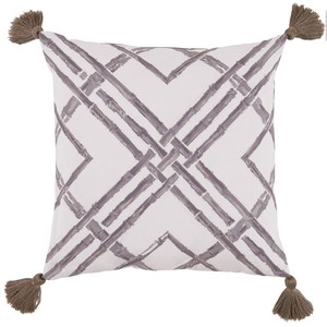 Taupe Bamboo Thread Print Outdoor Pillow