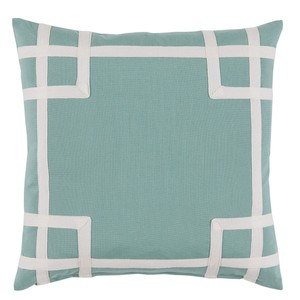 Aqua White Corner Tape Print Outdoor Pillow