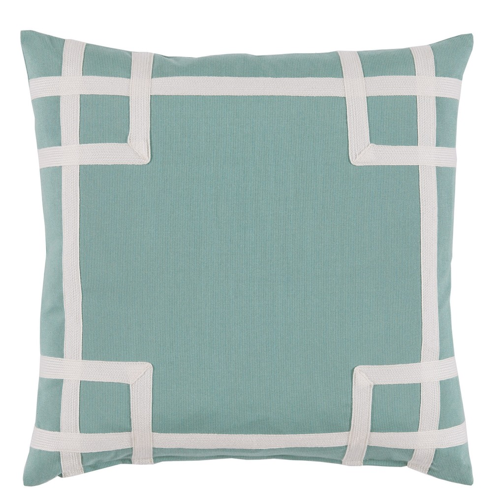 Aqua White Corner Tape Print Outdoor Pillow | Lacefield Designs