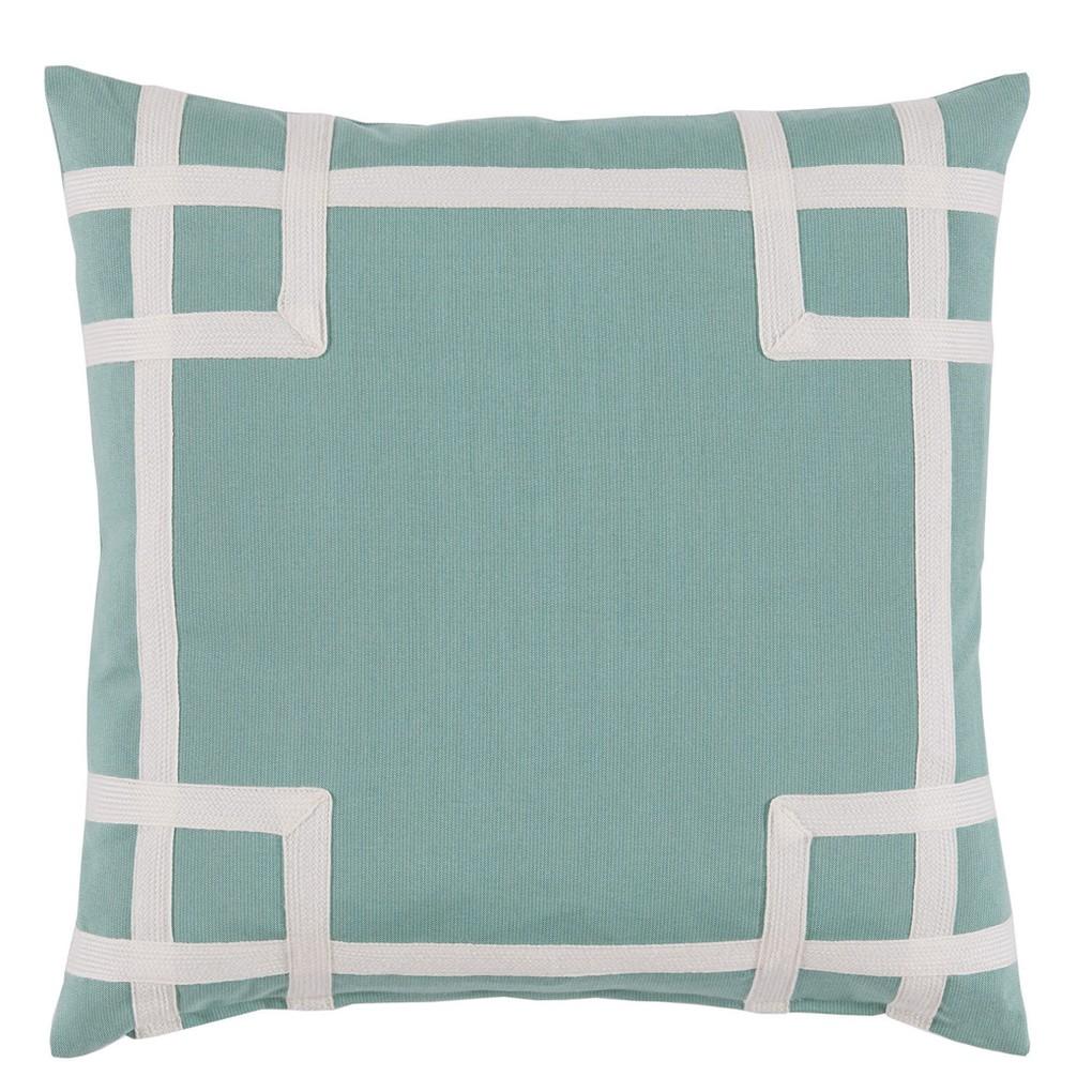 Aqua White Corner Tape Print Outdoor Pillow | Lacefield Designs