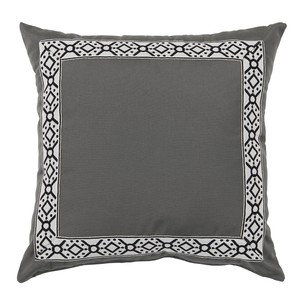 Pewter Grey/Black Print Tape Border Outdoor Pillow