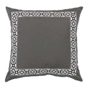Pewter Grey/Black Print Tape Border Outdoor Pillow | Lacefield Designs