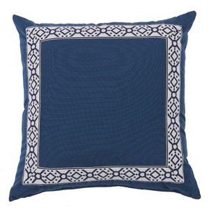 Harbor Blue/Navy Print Tape Border Outdoor Pillow