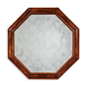 Large Octagonal Crotch Mahogany Mirror