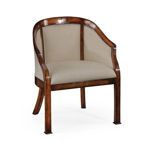 Plain Upholstery Walnut Salon Tub Chair | Jonathan Charles