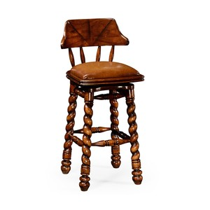 Country Style Walnut Leather Barstool | Jonathan Charles