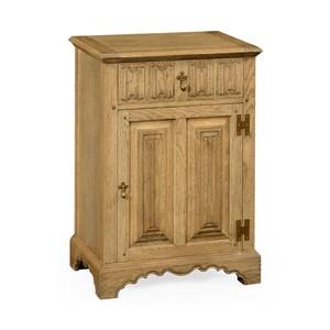 Natural Oak Linenfold Bedside Cabinet | Jonathan Charles
