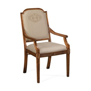 Upholstered Dining Chair with Gold Embroidery