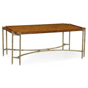 "Walnut Brass ""Bark"" Coffee Table 