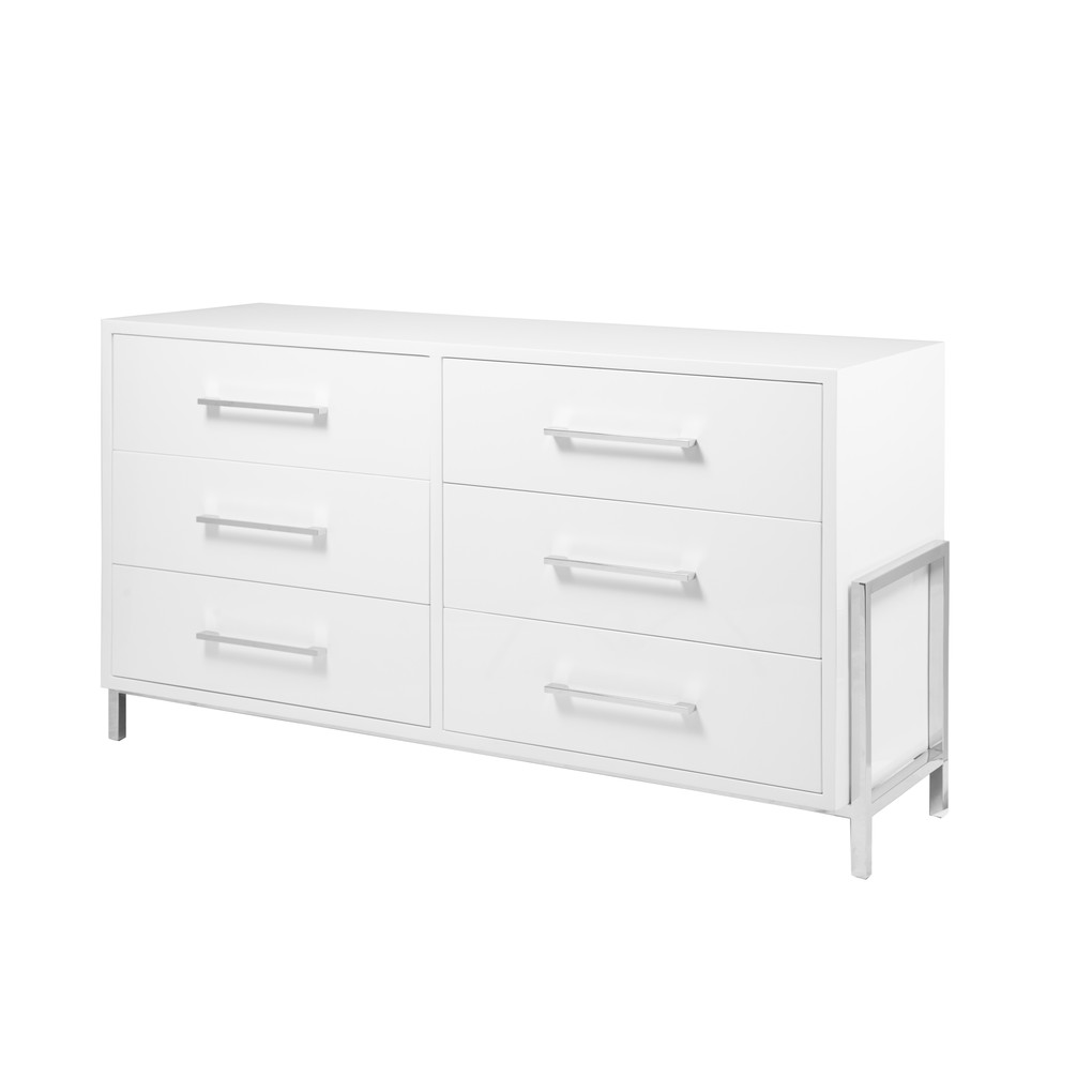 White Lacquer 6 Drawer Chest with Nickel Base | Worlds Away