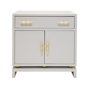 Gray Lacquer 1 Drawer & 2 Doors Nightstand