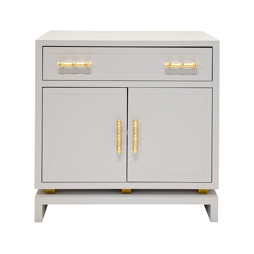 Gray Lacquer 1 Drawer & 2 Doors Nightstand | Worlds Away