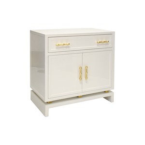 White Lacquer 1 Drawer & 2 Doors Nightstand | Worlds Away