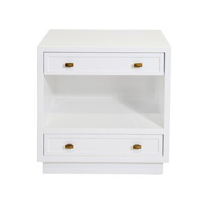 White Lacquer 2 Drawer Nightstand with Open Shelf