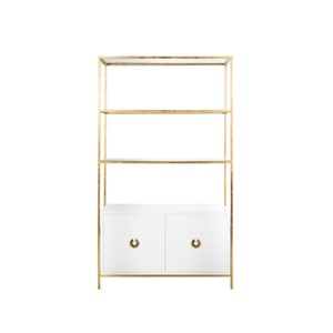 Gold Leaf Etagere with White Lacquer Cabinet