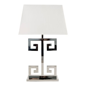 Nickel Plated Greek Key Lamp