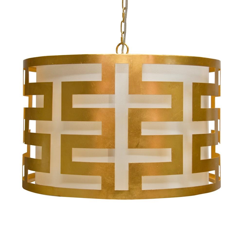 Gold Leaf Greek Key Pendant | Worlds Away