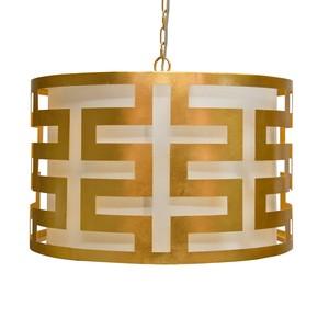 Gold Leaf Greek Key Pendant