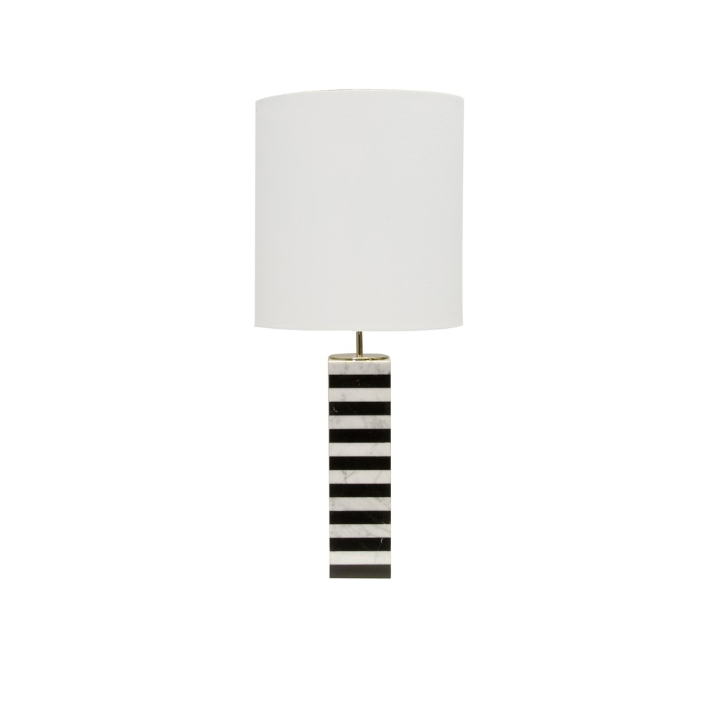 Marble STK TBL Lamp W. WHT Line Drum Shade | Worlds Away