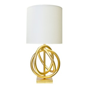 Gold Leaf 3 Ring Table Lamp with White Linen Shade | Worlds Away