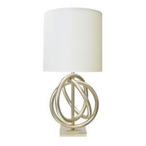 Silver Leaf 3 Ring Table Lamp White Linen Shade